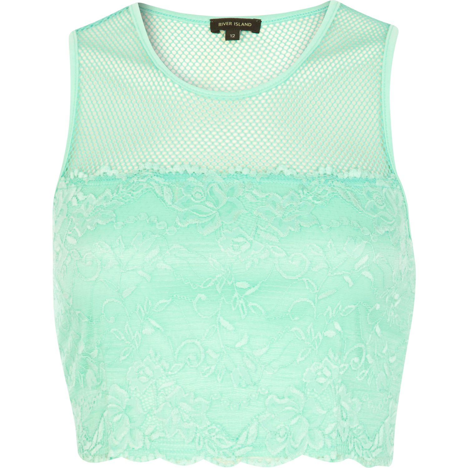 3295ffdff3356 River Island Light Green Mesh and Lace Contrast Crop Top in Green - Lyst