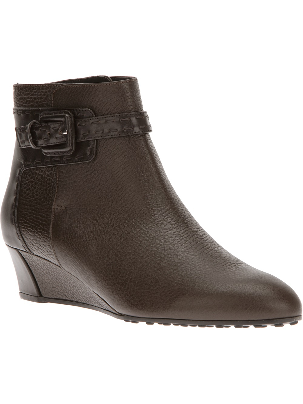 tod s wedge buckle boot in brown lyst