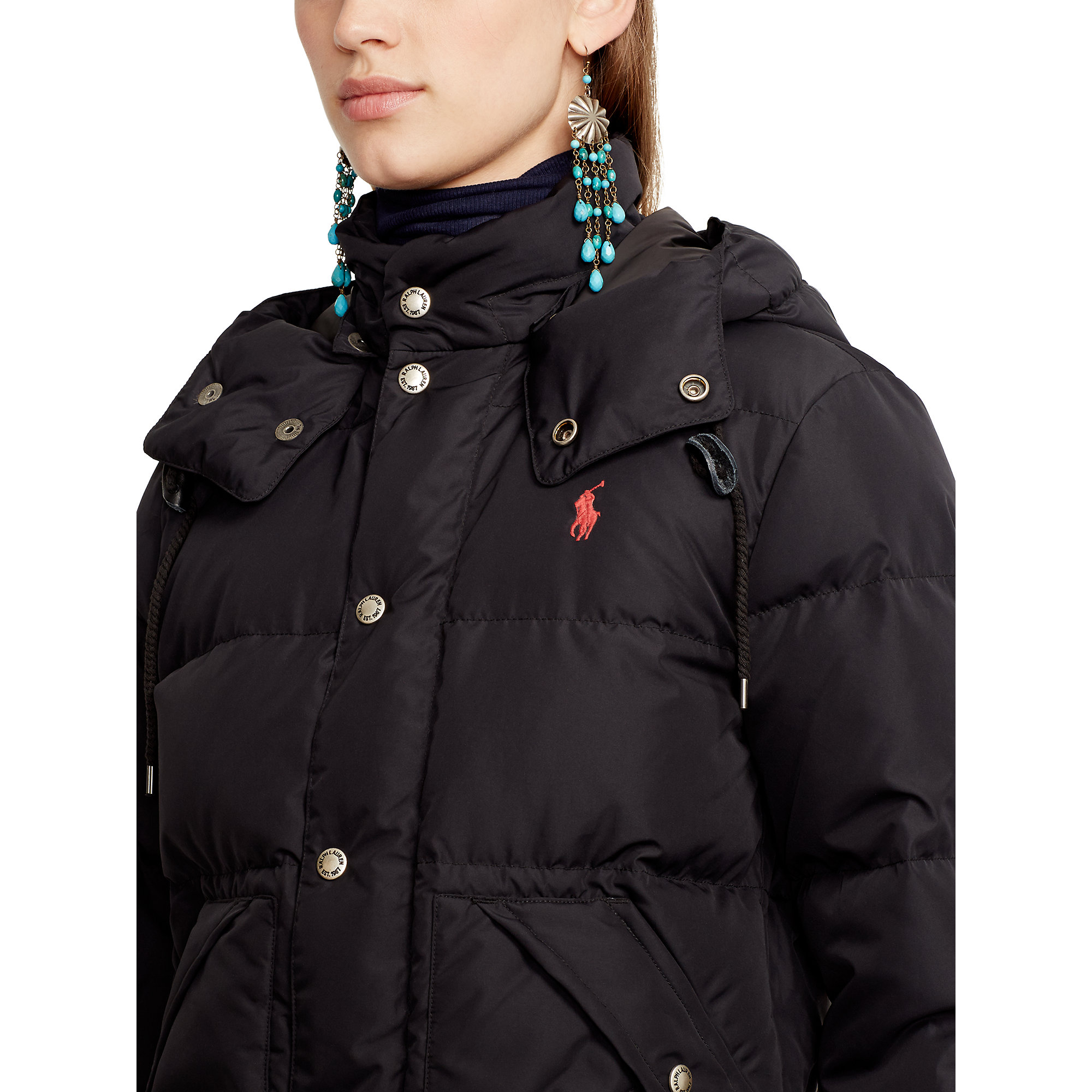 Polo Ralph Lauren Hooded Elmwood Down Jacket in Black | Lyst