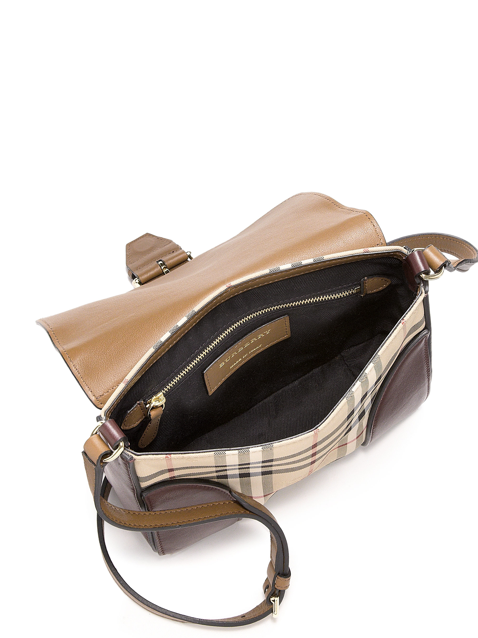 aa6f9415fed0 Lyst - Burberry Dickens Small Multicolor Leather   Horseferry Check ...
