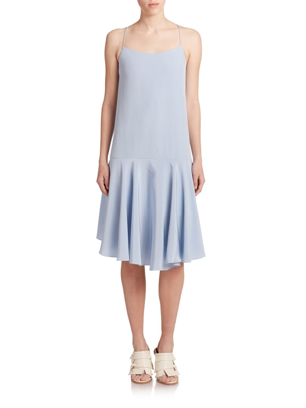 Tibi Heavy Silk Drop-waist Dress in Blue - Lyst