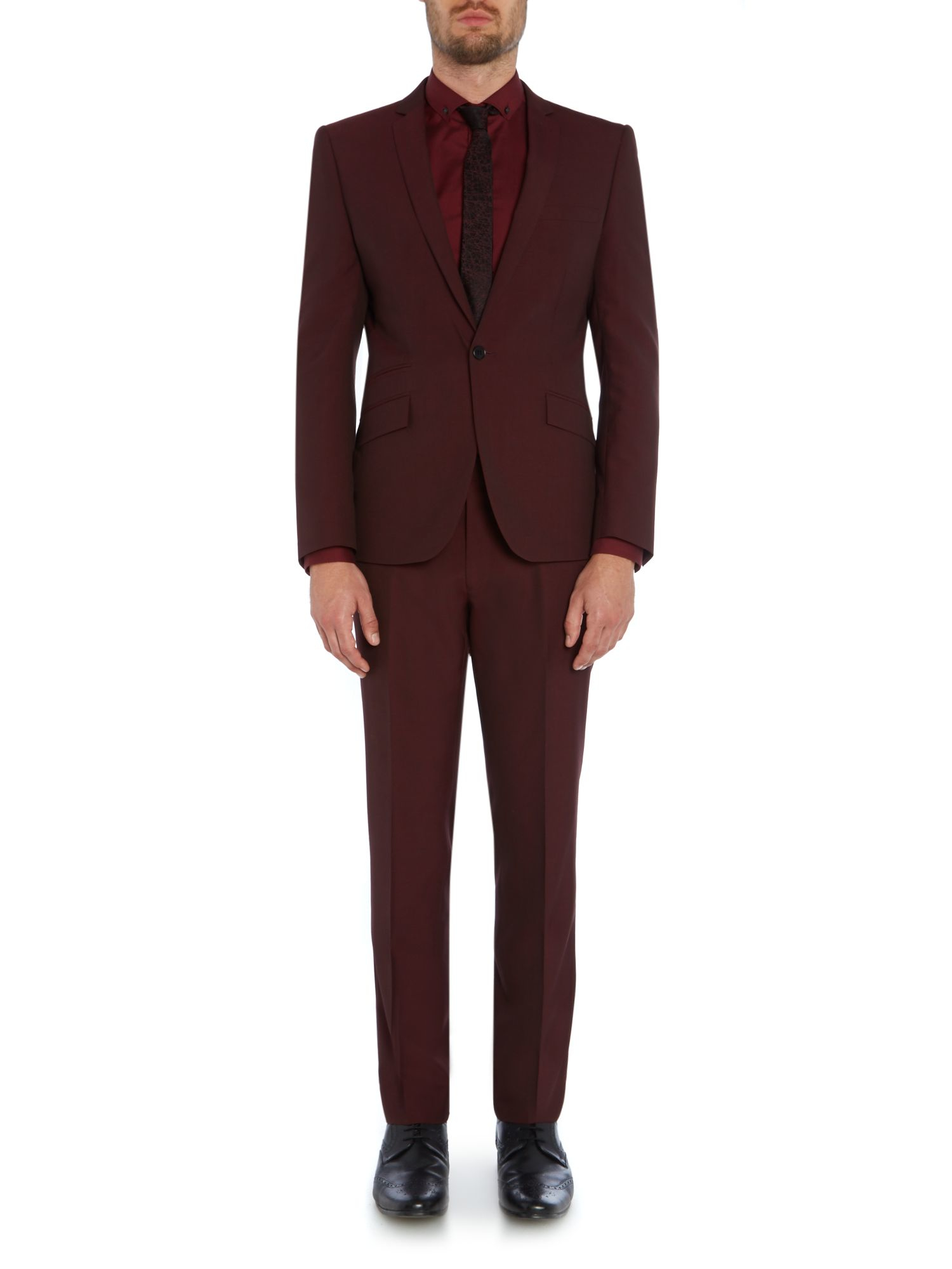 Kenneth Cole Wool Plain Slim Fit Suit Trousers in Burgundy (Purple) for Men