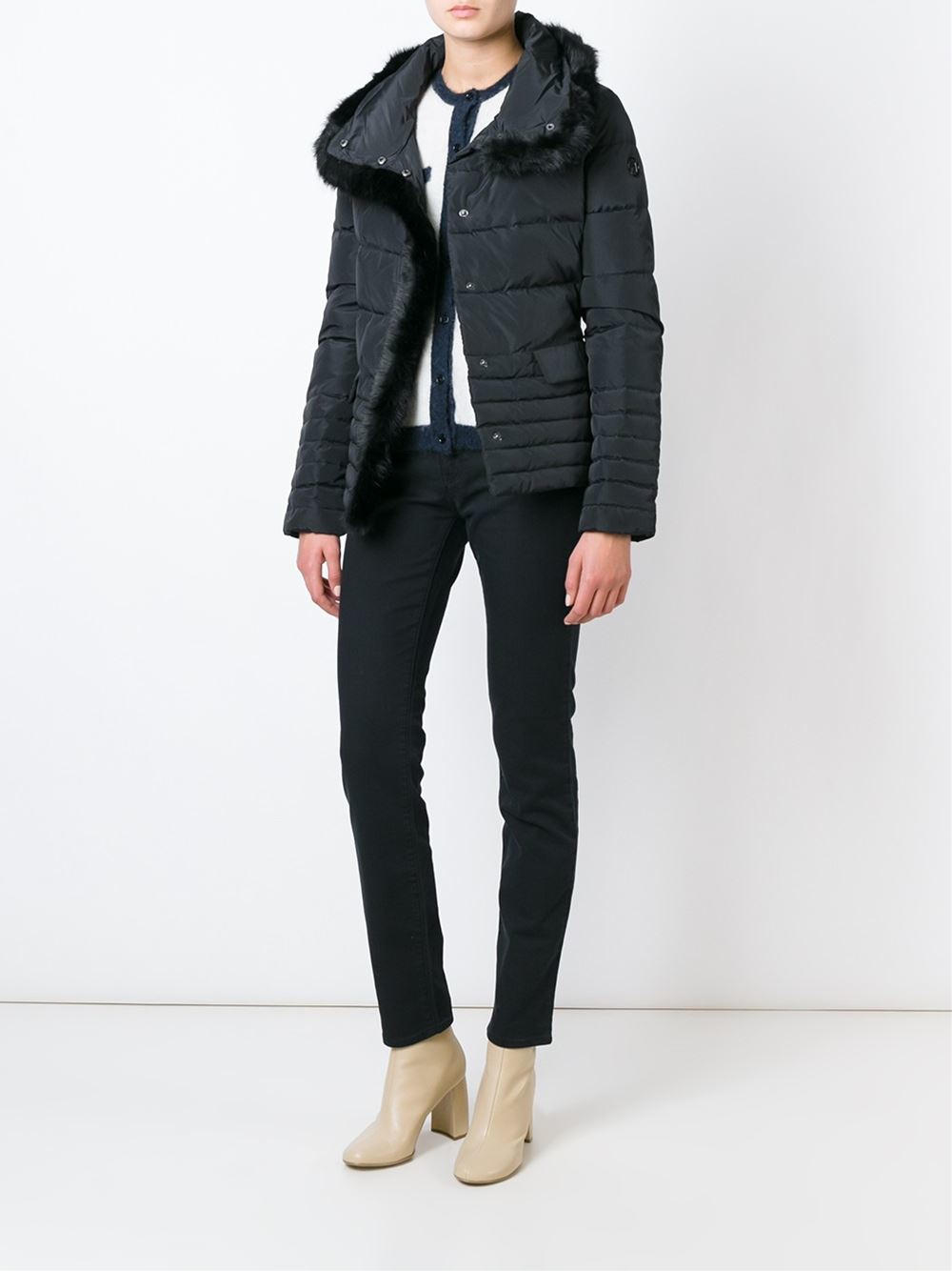 Armani jeans Faux Fur Trimmed Padded Jacket in Black   Lyst : armani jeans quilted jacket - Adamdwight.com