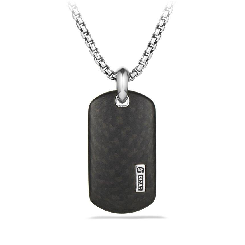 Lyst david yurman small tag with carbon fiber on chain for Tj maxx jewelry box