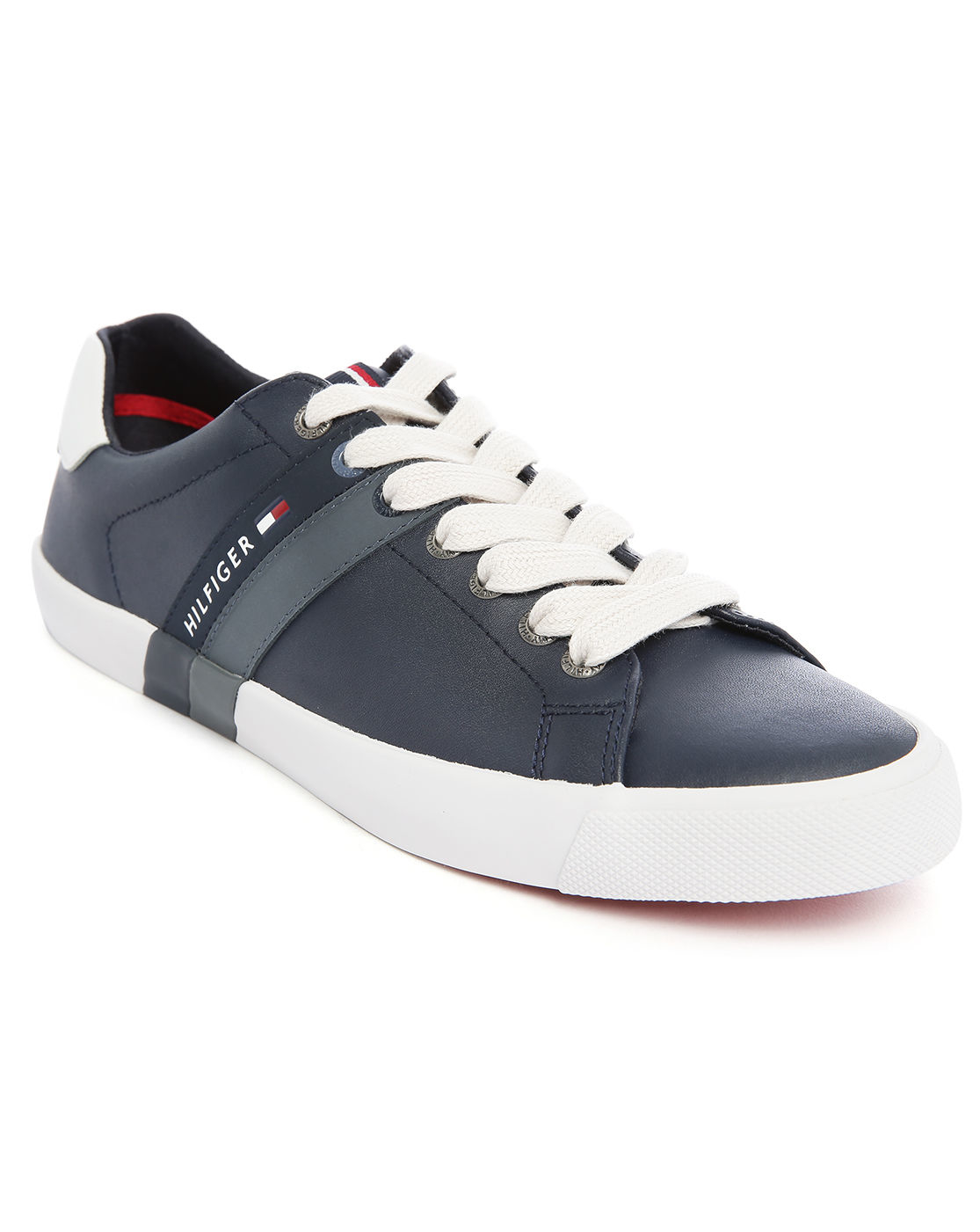 tommy hilfiger volley navy leather sneakers in blue for men lyst. Black Bedroom Furniture Sets. Home Design Ideas
