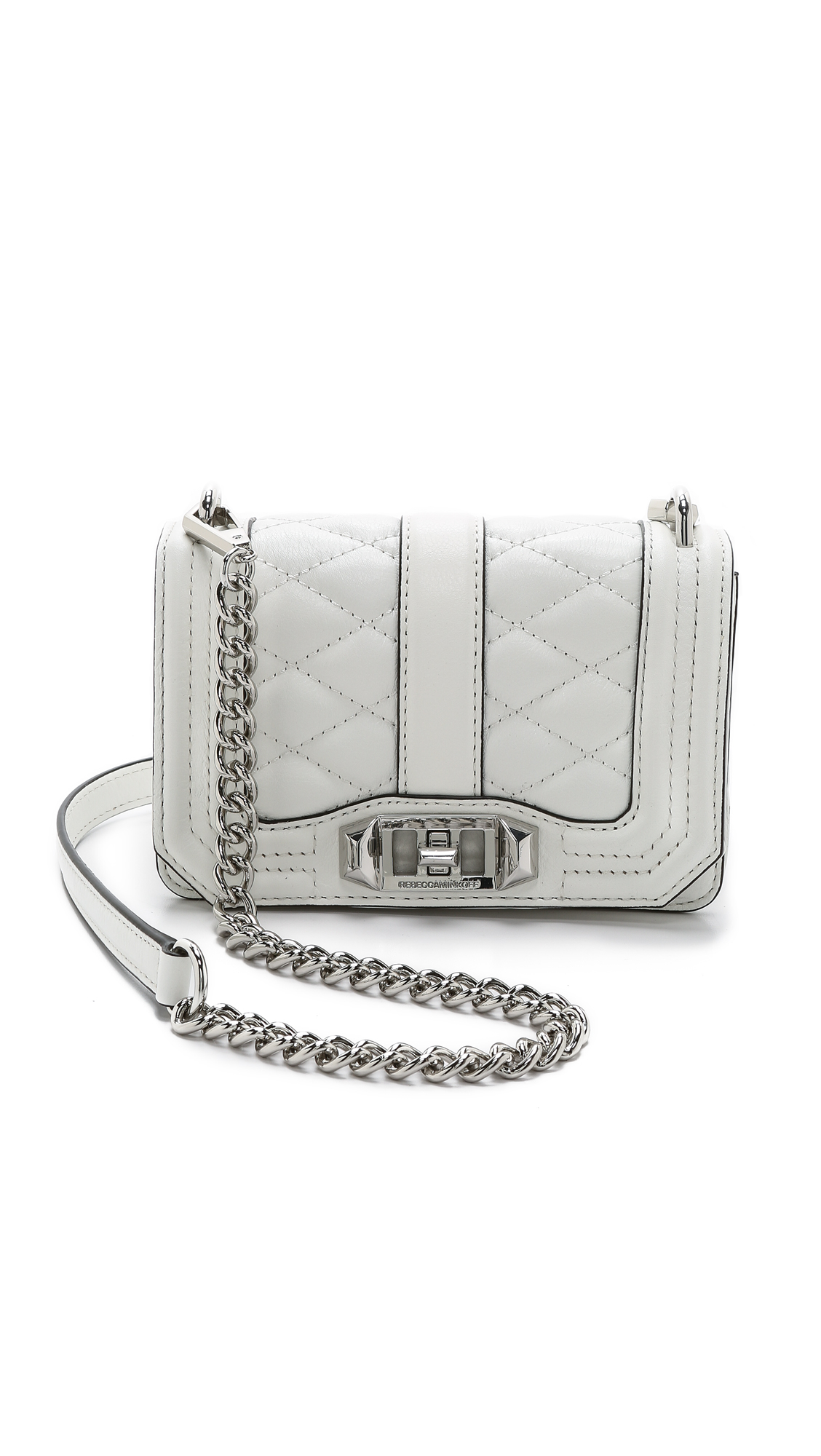 Rebecca Minkoff Mini Love Quilted Crossbody Bag in White