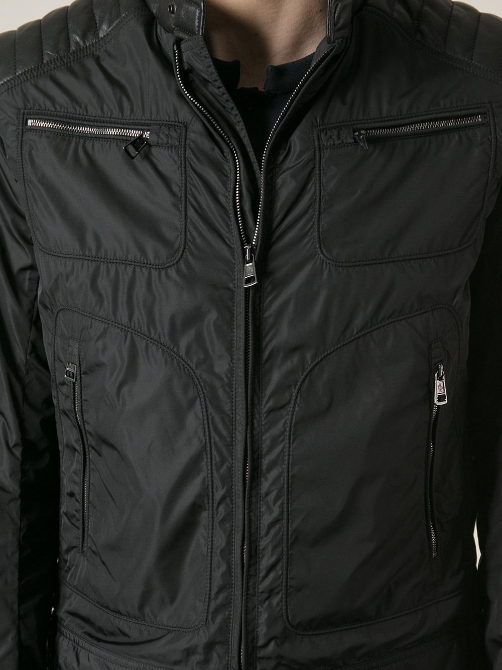 Biker Style Lightweight Jacket Moncler Noir fHdO7wq