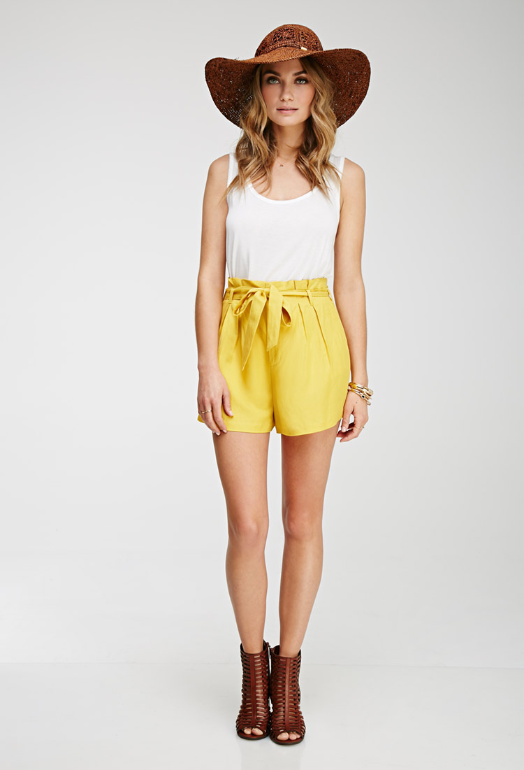 Forever 21 Contemporary Pleated High-waisted Shorts in Yellow   Lyst