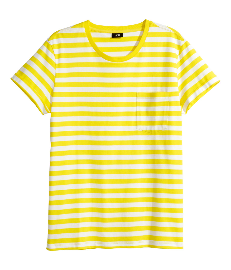 h m striped t shirt in yellow for men lyst