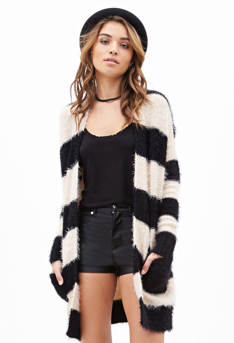 Forever 21 Fuzzy Striped Cardigan in Black | Lyst