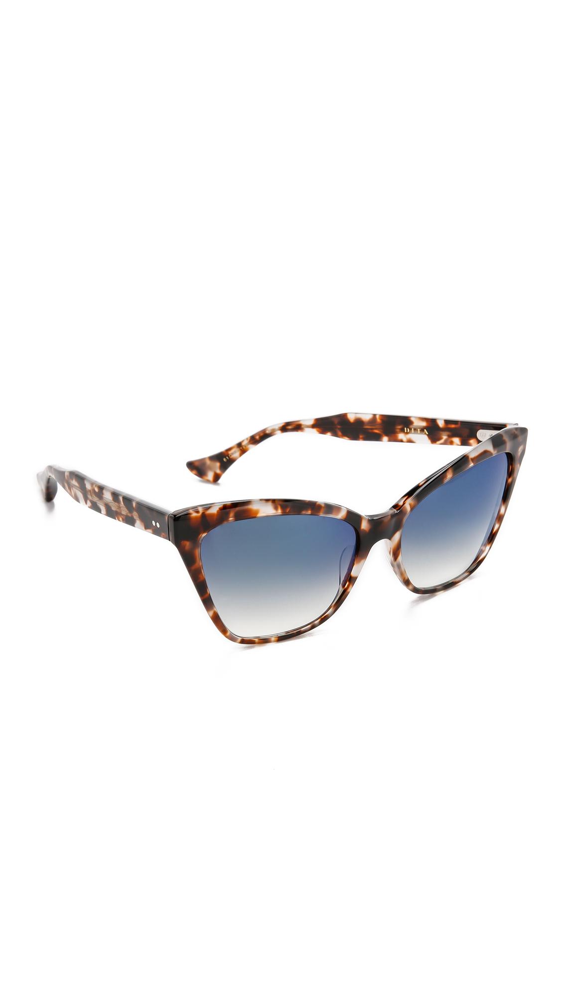 Dita Eyewear Superstition Sunglasses - Cream Tortoise/blue Flash in Natural