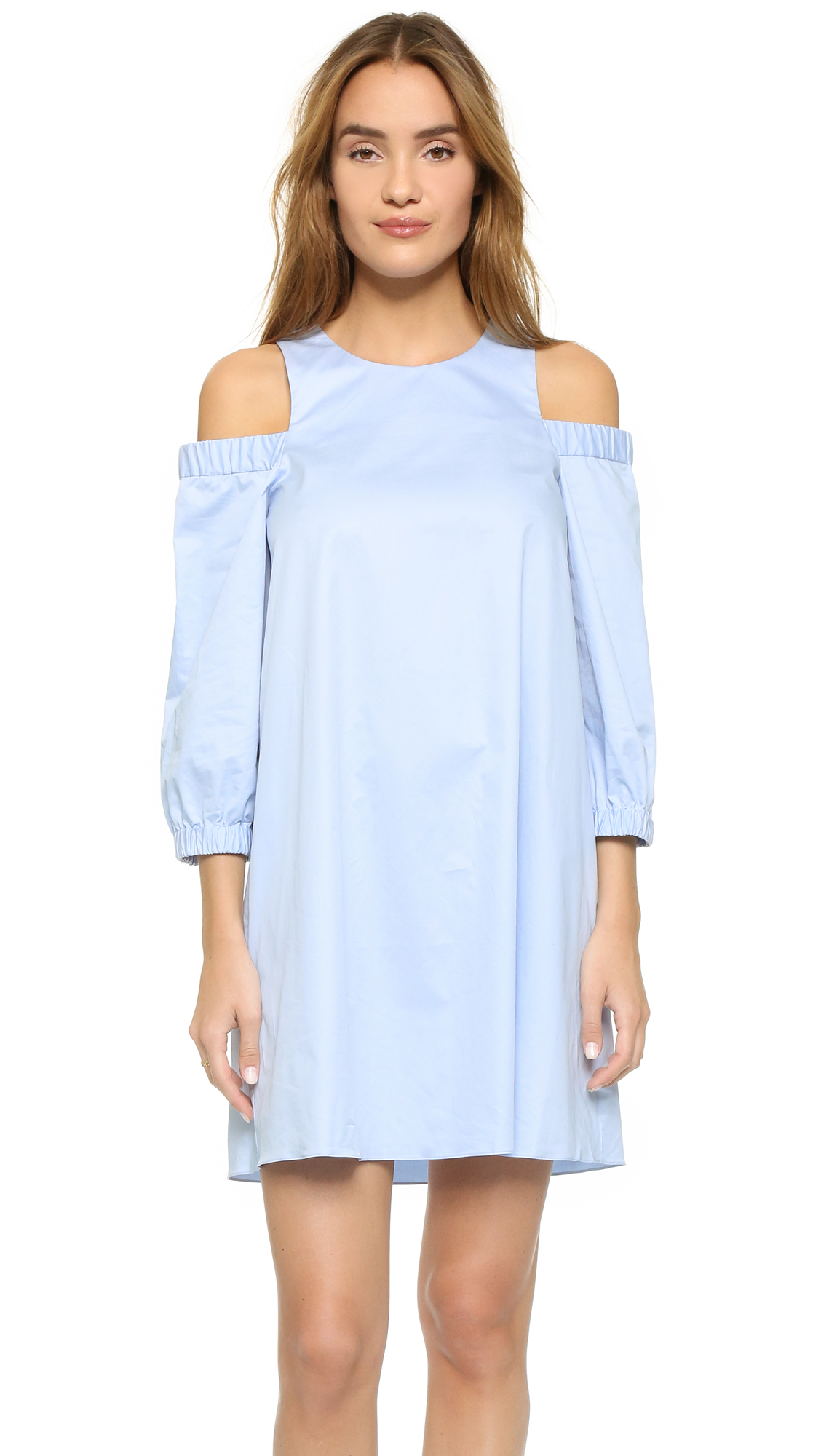 Tibi Cutout Shoulder Dress in Blue | Lyst