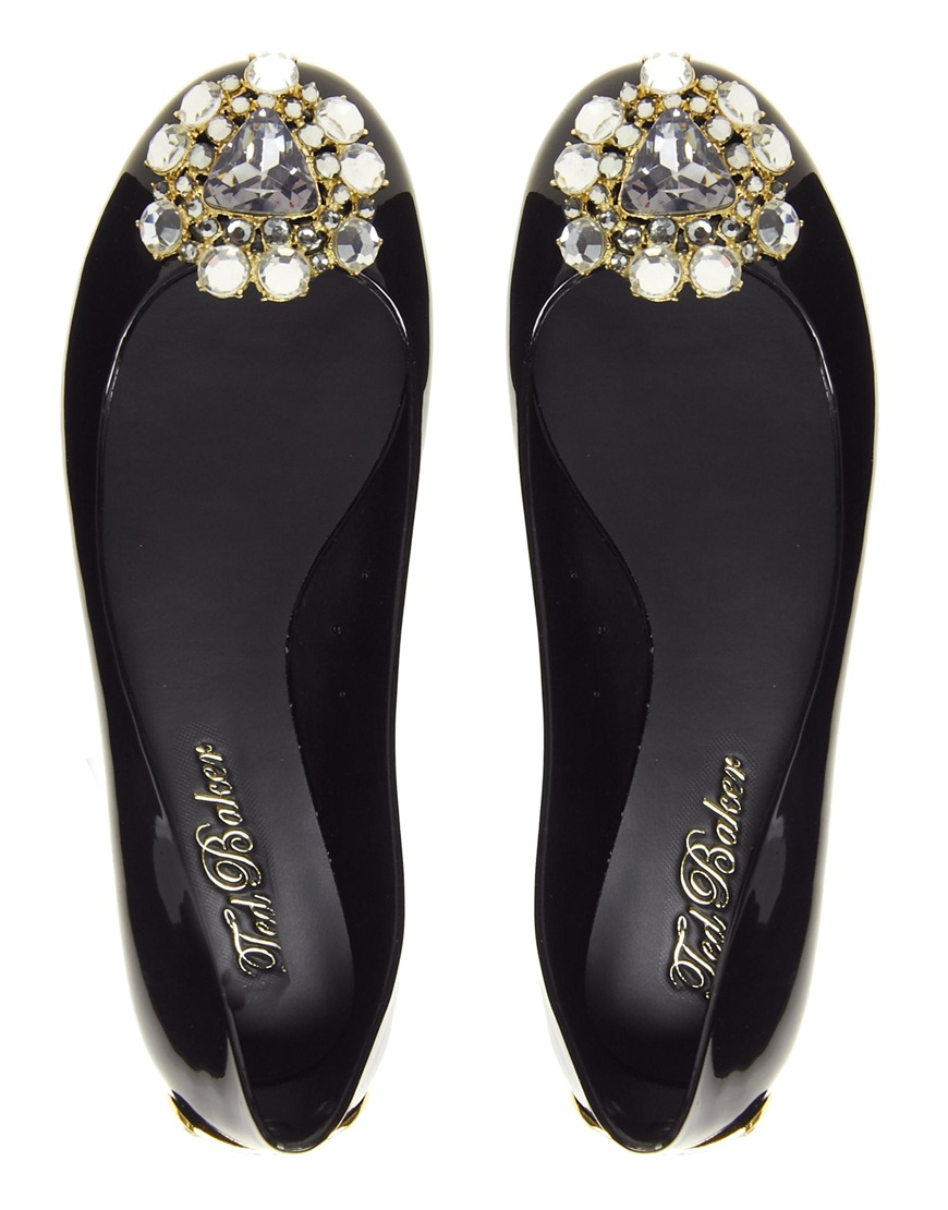 9441cee42f7b Lyst - Ted Baker Jemmee Embellished Black Flat Jelly Shoes in Black