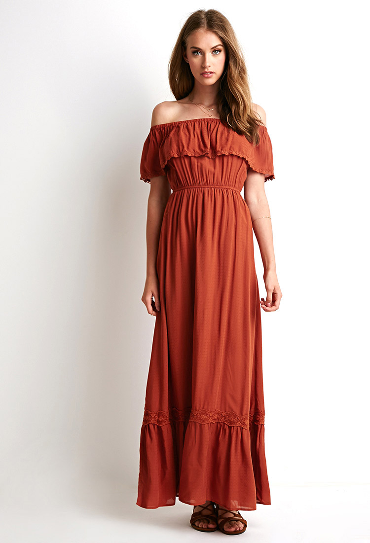 Forever 21 Off-The-Shoulder Maxi Dress in Brown (Rust)