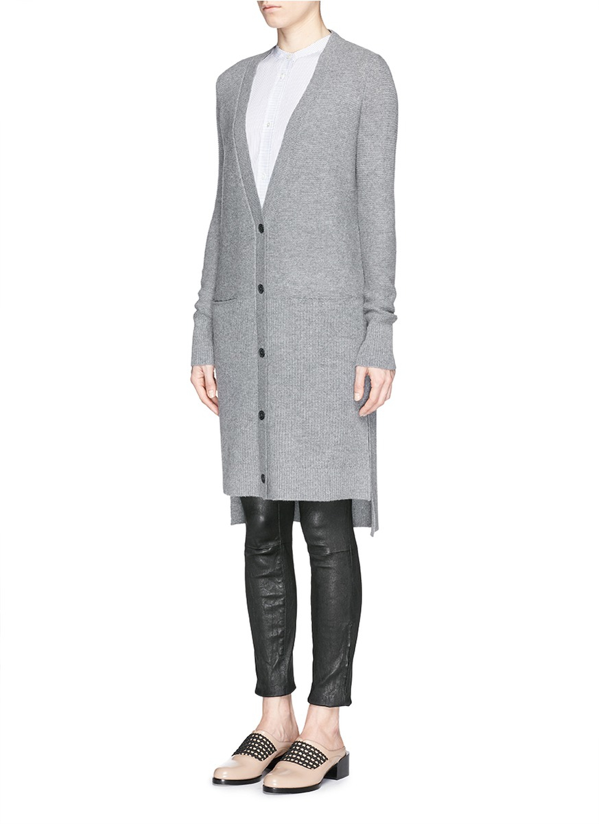 Lyst Vince Cashmere Pocket Long Cardigan In Gray