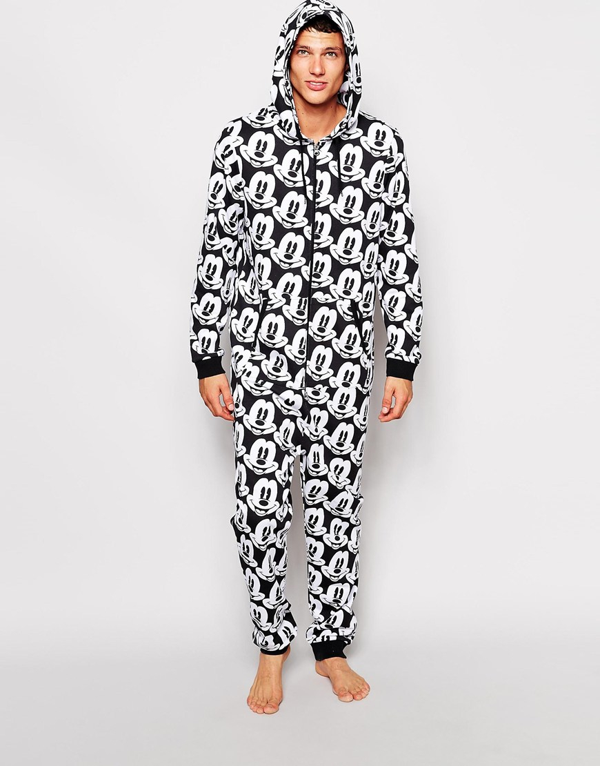 Lyst Asos Onesie With Mickey Mouse Print In Black For Men