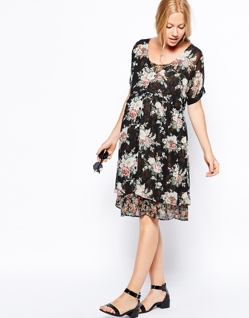 Lyst asos skater dress with double layer in floral print gallery ombrellifo Images