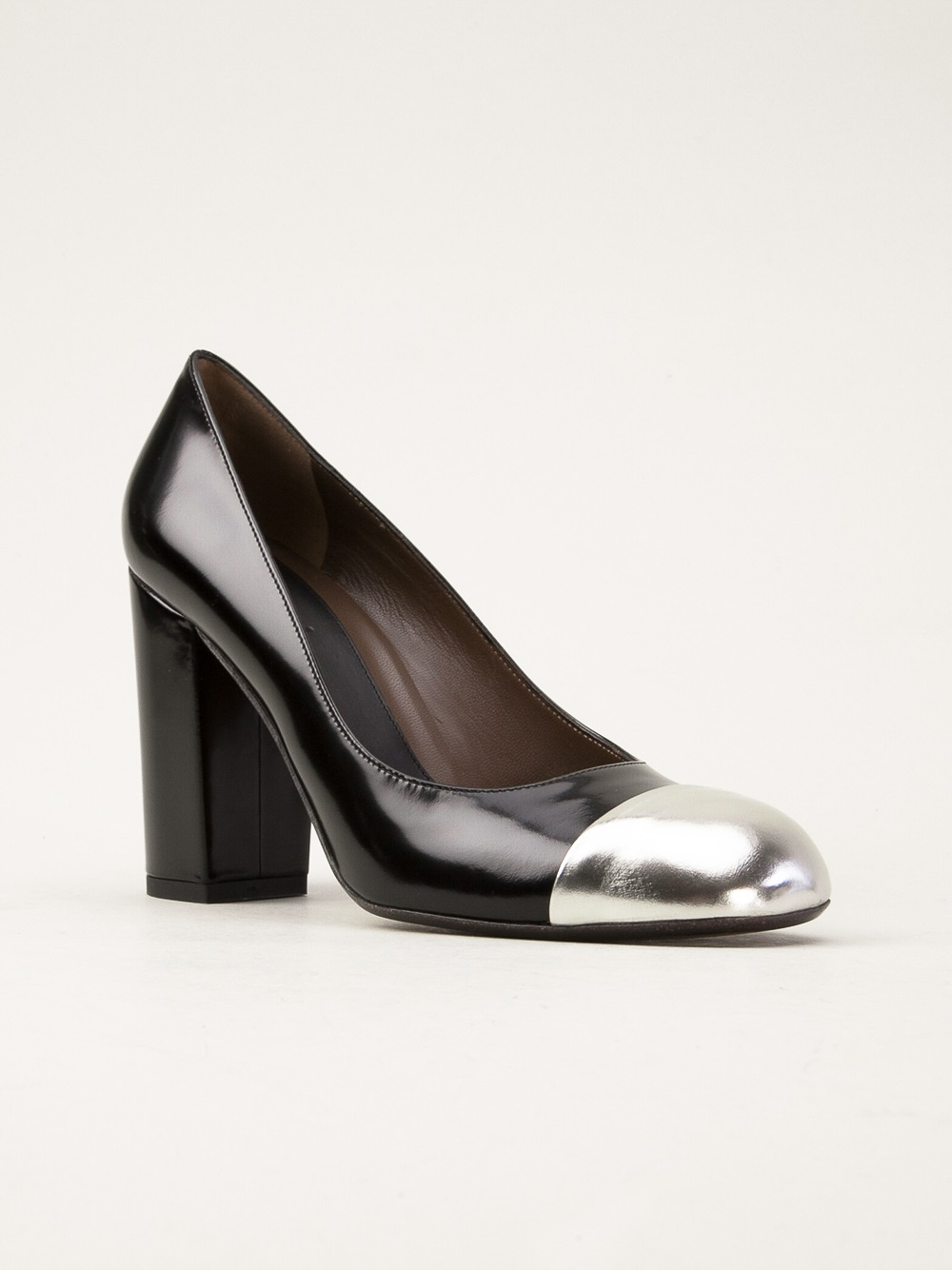 Lyst Marni Chunky Heel Pumps In Metallic
