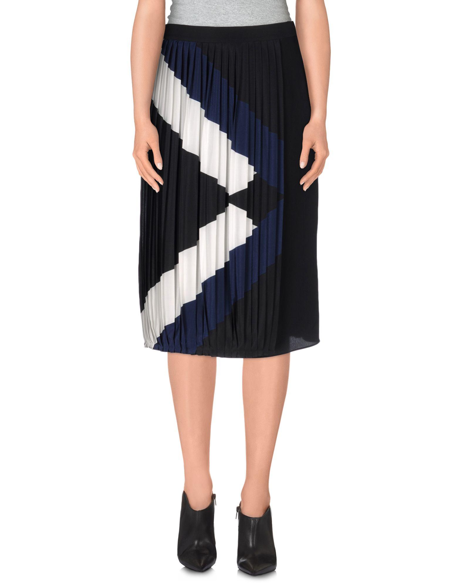 tibi knee length skirt in black lyst