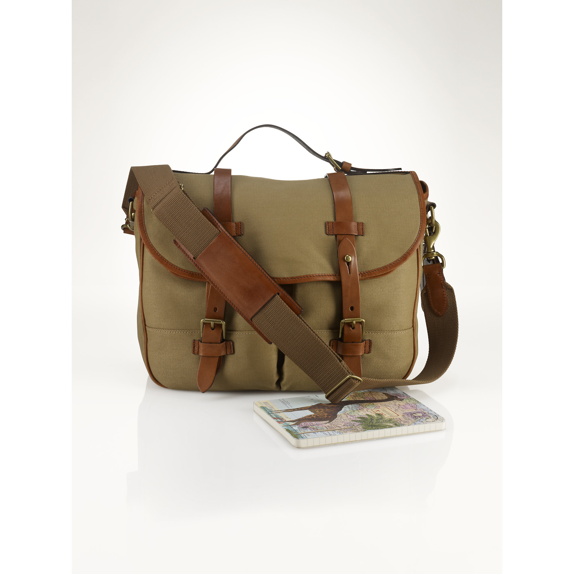 ... store lyst polo ralph lauren canvas leather messenger in natural for men  c6367 aaeea 9aeee832e3