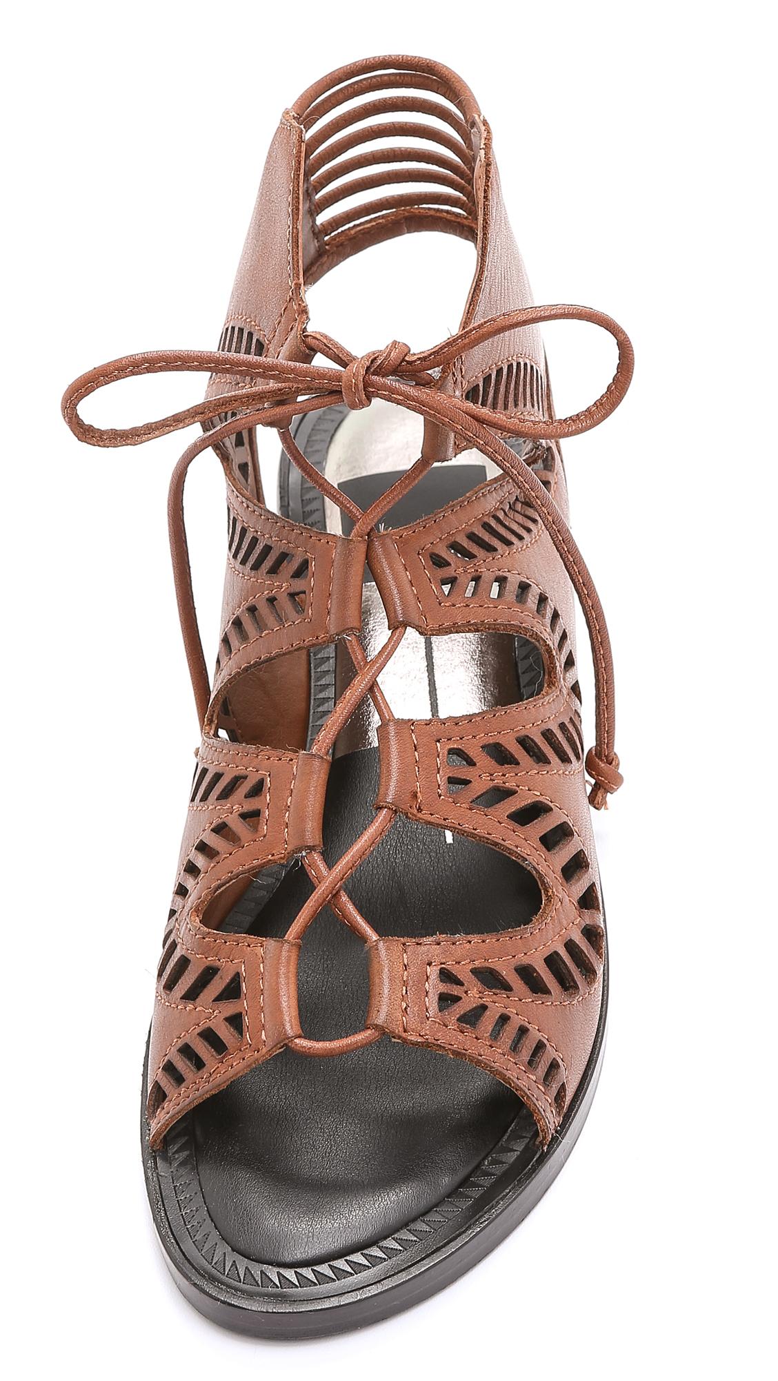Dolce Vita Deklon Lace Up Leather Sandals In Brown Lyst