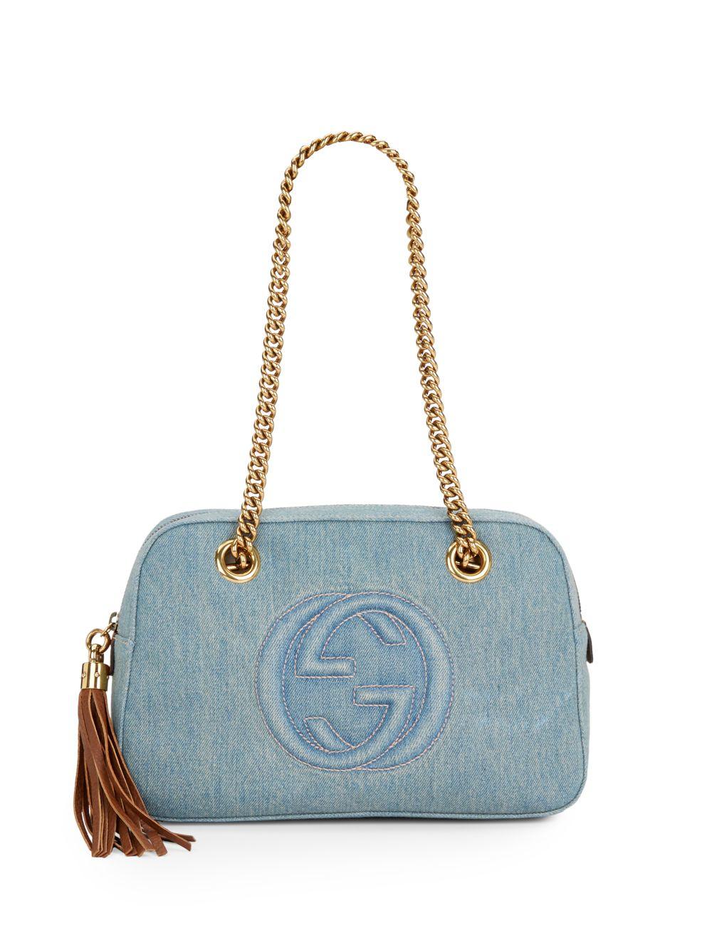 0e41fffc807ab8 Gucci Soho Denim Shoulder Bag in Blue - Lyst