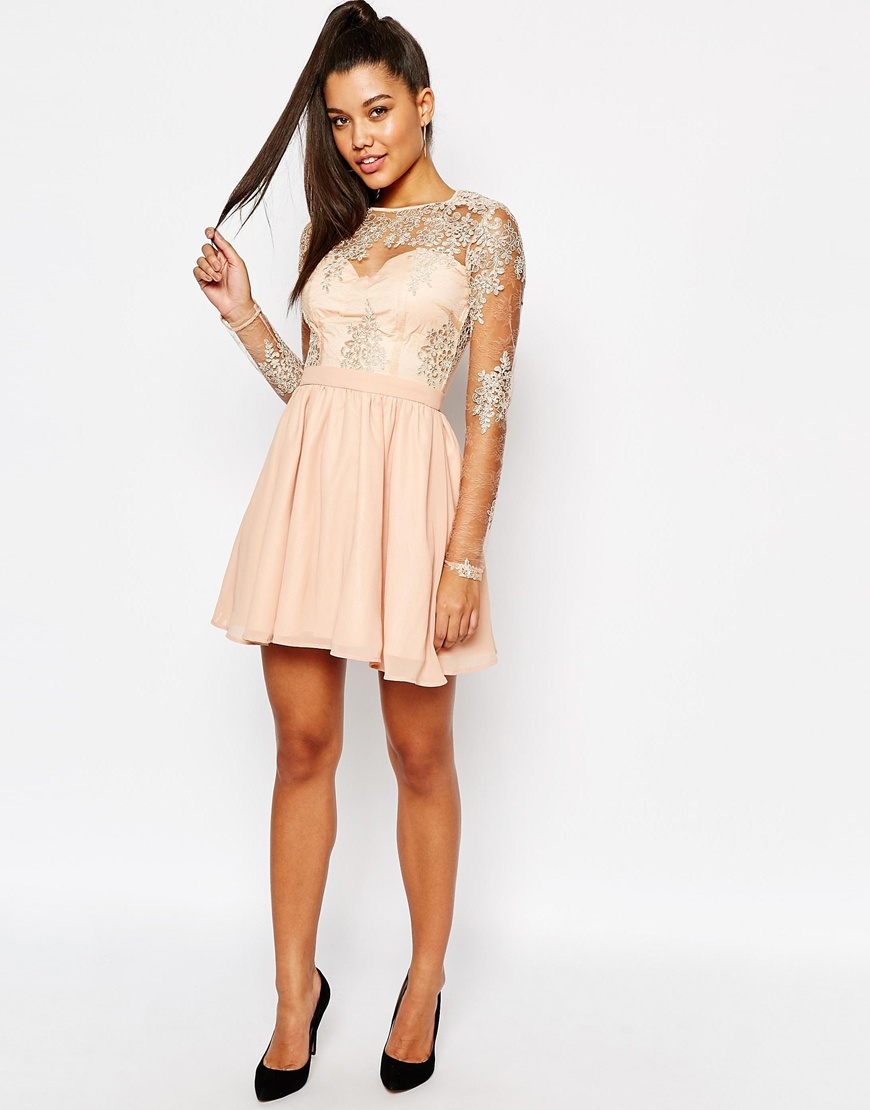 7dd29866779b Missguided Natural Lace Sleeve Prom Dress