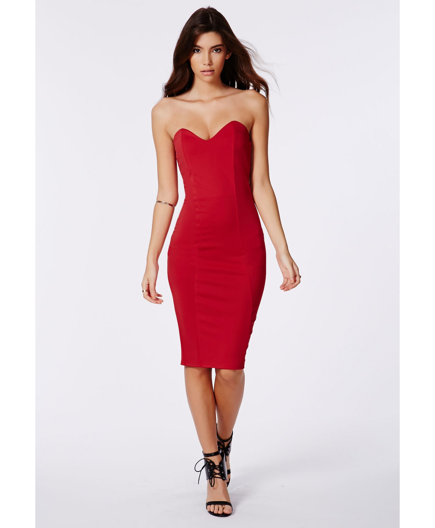 Missguided Matilde Bandeau Bodycon Midi Dress In Red In
