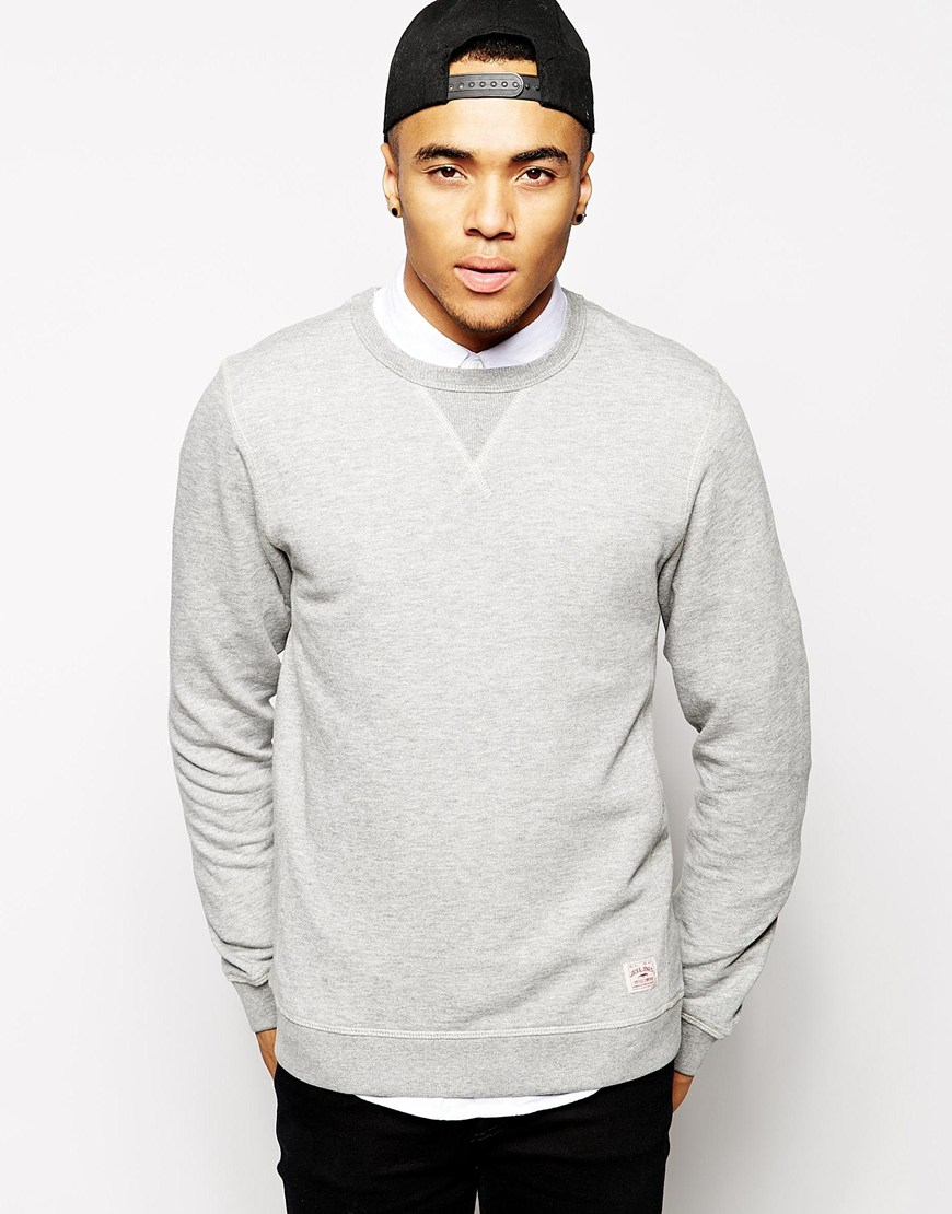 jack jones sweatshirt in gray for men lyst. Black Bedroom Furniture Sets. Home Design Ideas