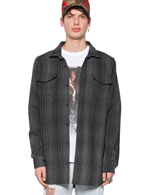 Off White C O Virgil Abloh Puff Print Heavy Wool Flannel