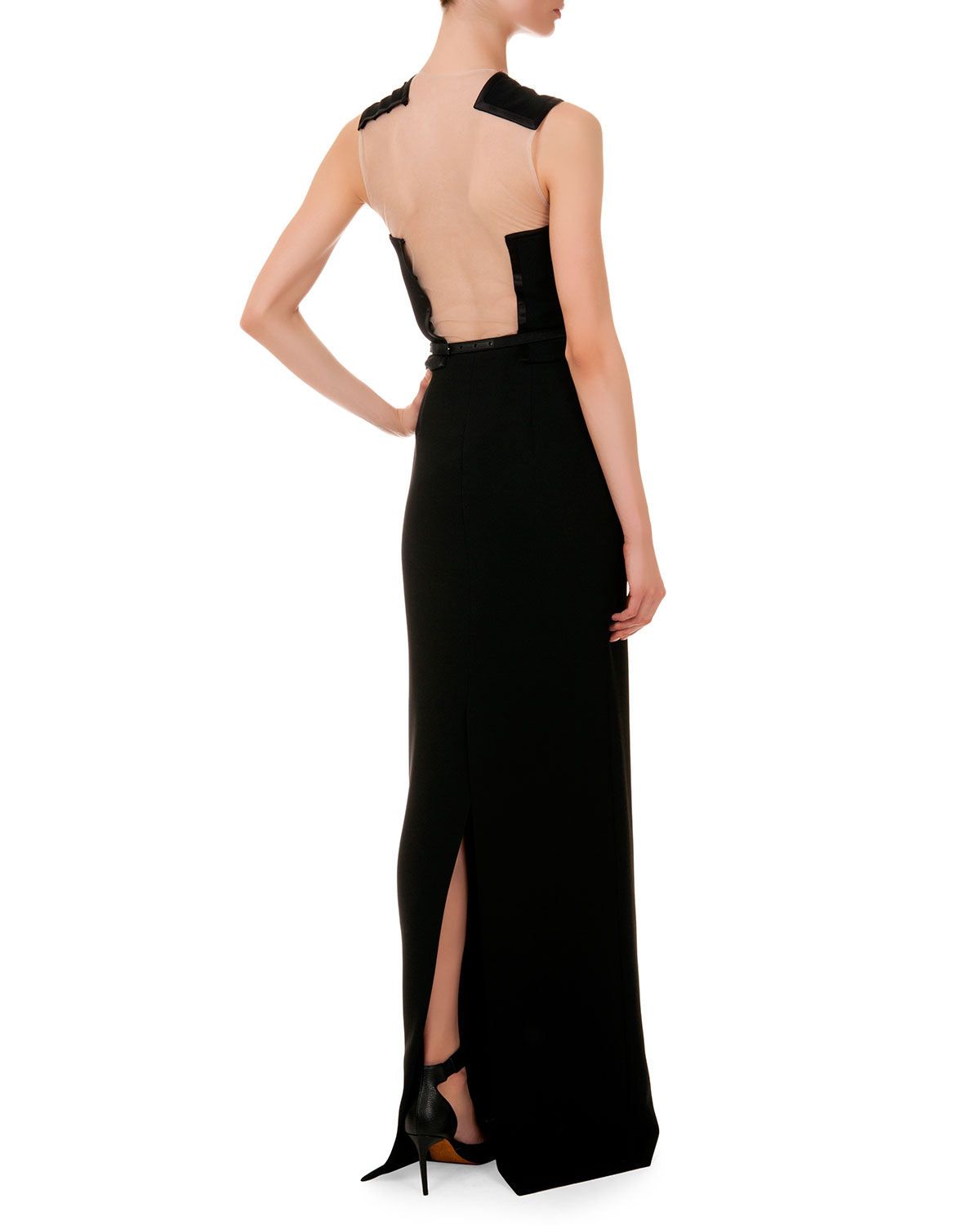 givenchy jeweled dragonfly belt sleeveless gown in black
