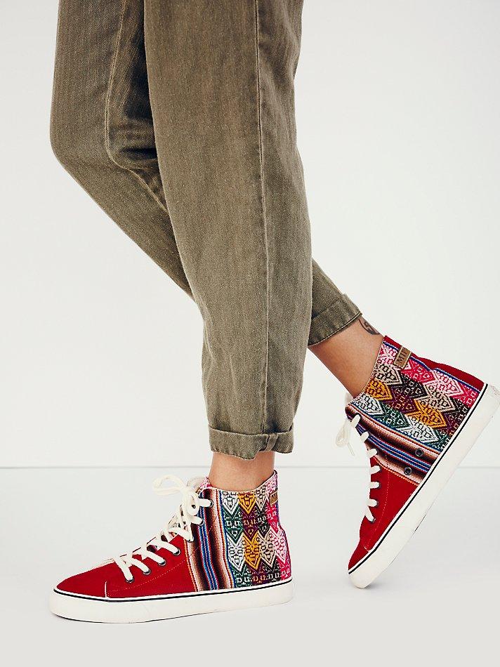 Free People Mipacha Womens Tarma Hi Top Sneaker in Red