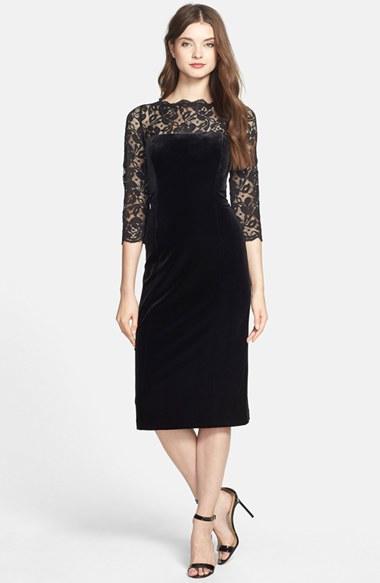 Eliza J Lace Amp Velvet Sheath Dress In Black Lyst