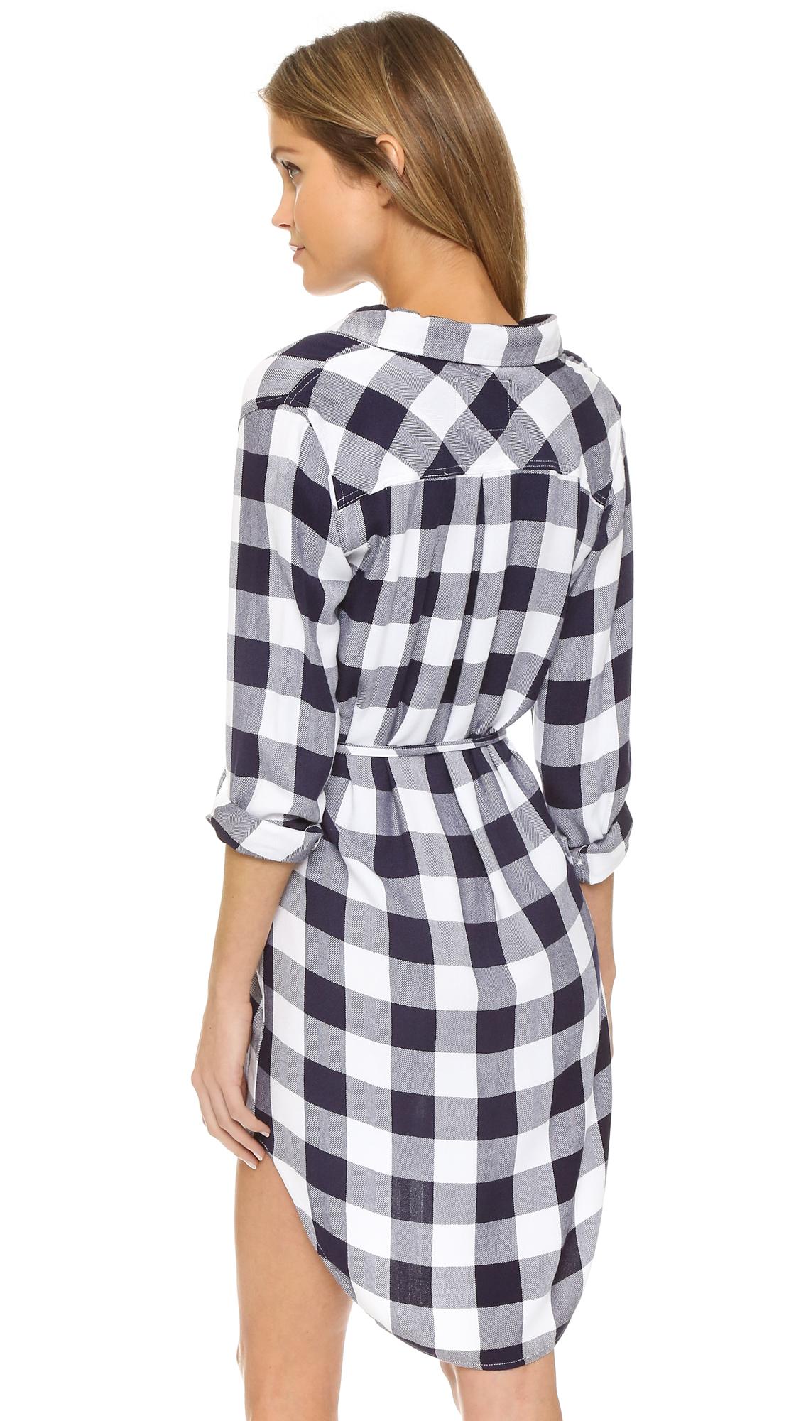 Rails nadine button down shirt dress in blue white for White button down dress shirt