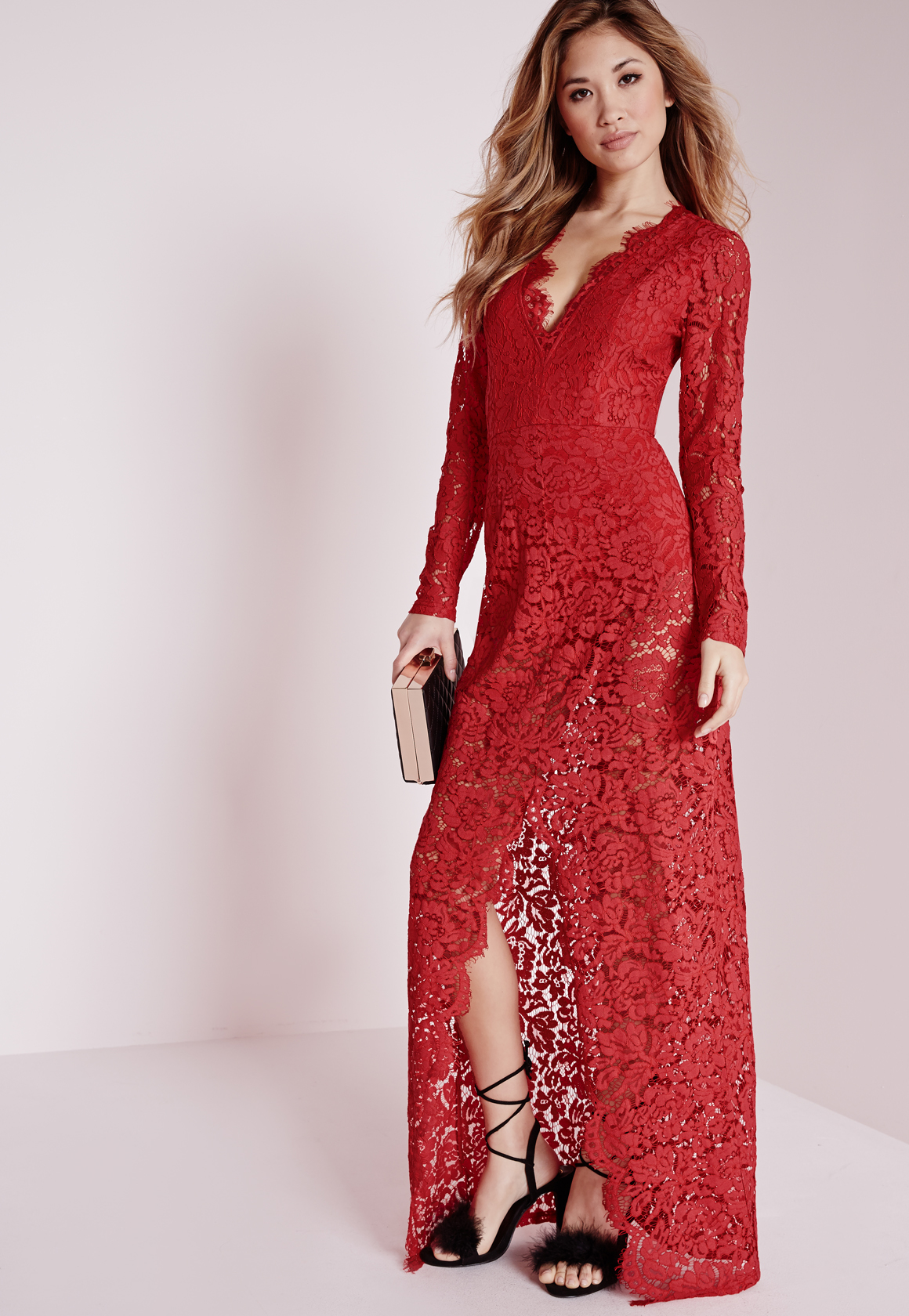 a3dfce73f16 Lyst - Missguided Plunge Lace Maxi Dress Red in Red