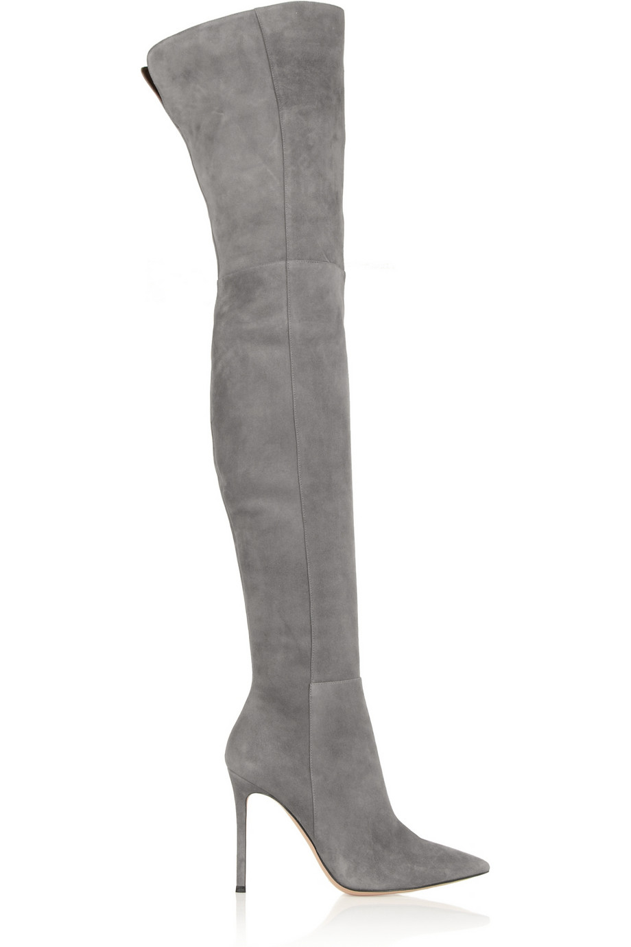 gianvito rossi suede overtheknee boots in gray lyst. Black Bedroom Furniture Sets. Home Design Ideas