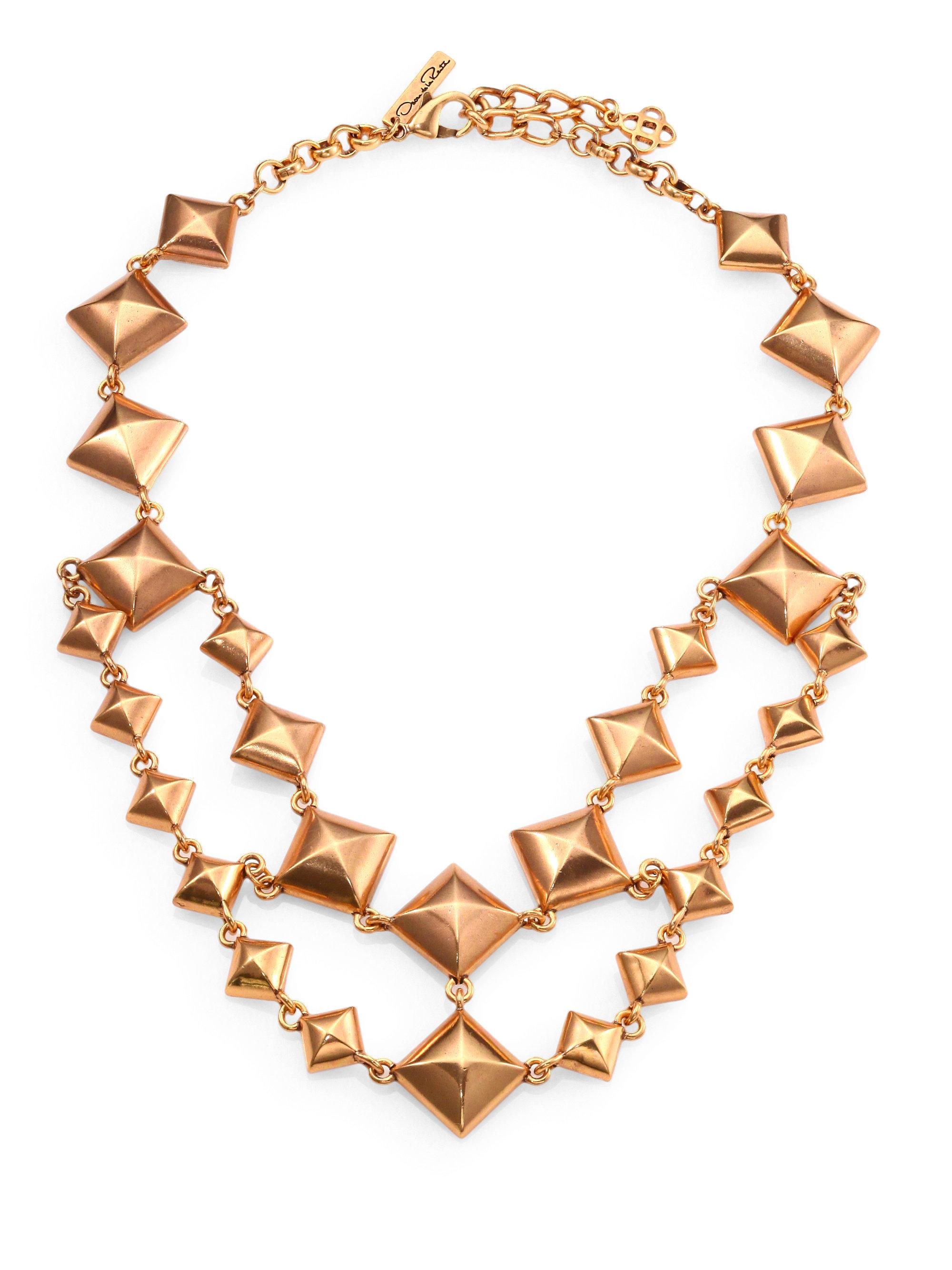 lyst oscar de la renta doublestrand pyramid stud necklace in metallic. Black Bedroom Furniture Sets. Home Design Ideas