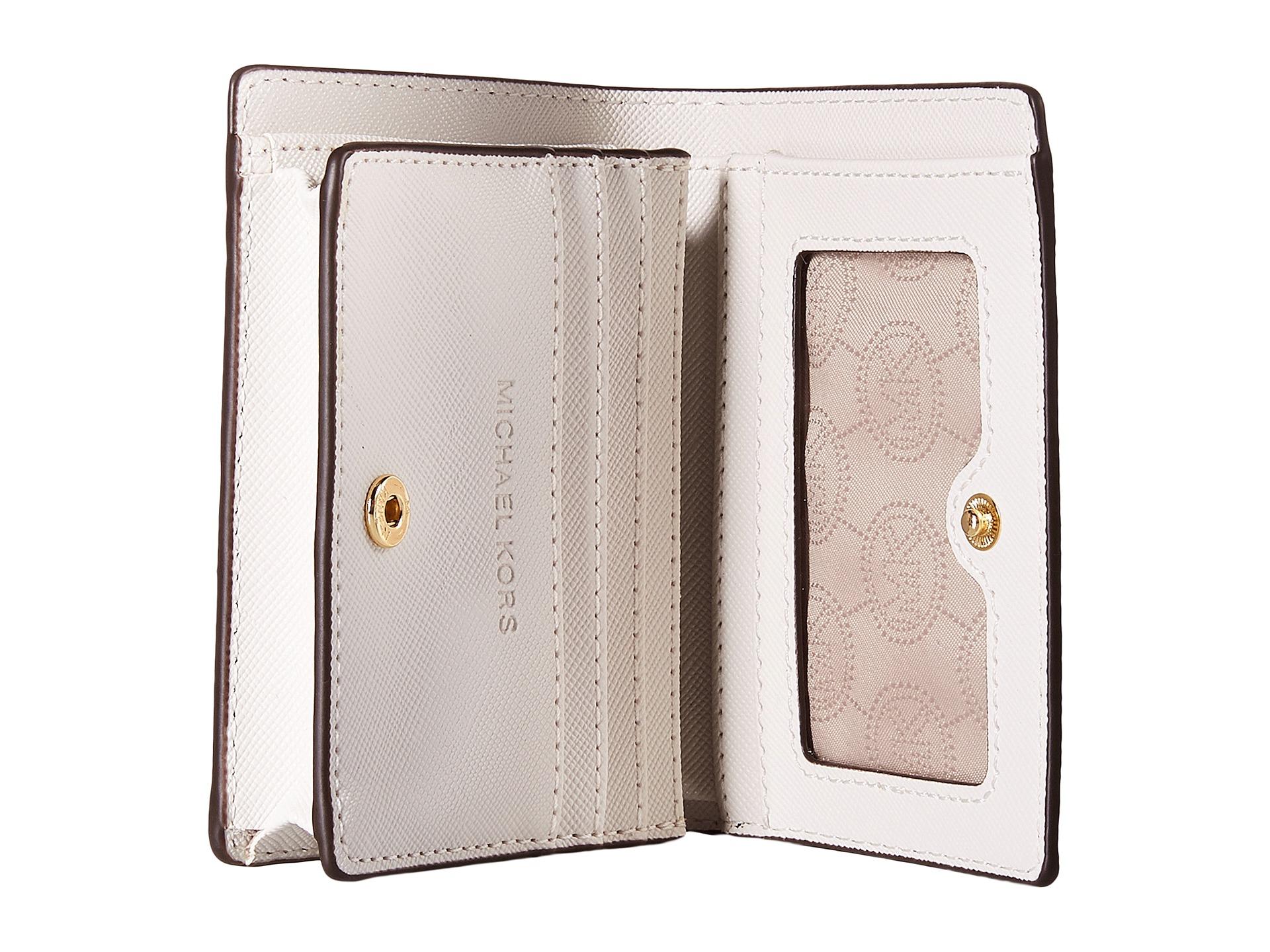 5d4fd728402a MICHAEL Michael Kors Jet Set Travel Flap Card Holder in White - Lyst