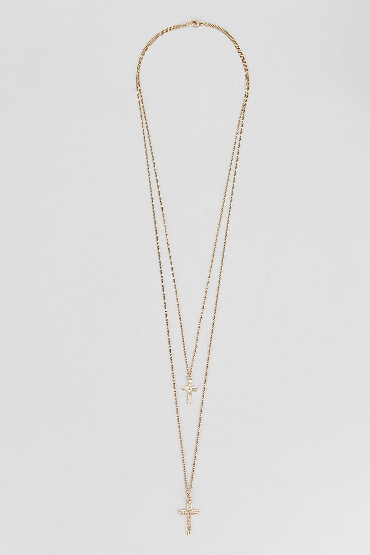 Urban Outfitters Double Cross Necklace In Gold Metallic For Men Lyst