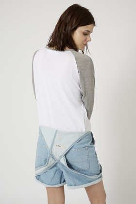 TOPSHOP Nevada Desert Raglan Top By Project Social T in White (Grey)