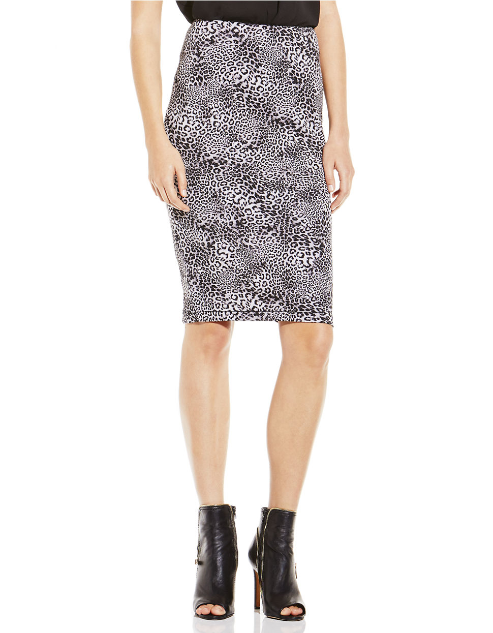 vince camuto animal print pencil skirt in animal rich
