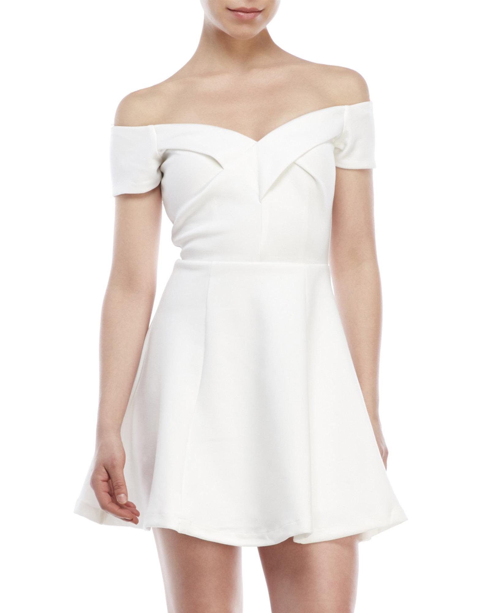 White off the shoulder skater dress