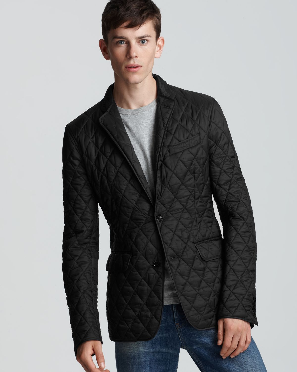 Burberry London Ledburry Quilted Sport Coat In Black For