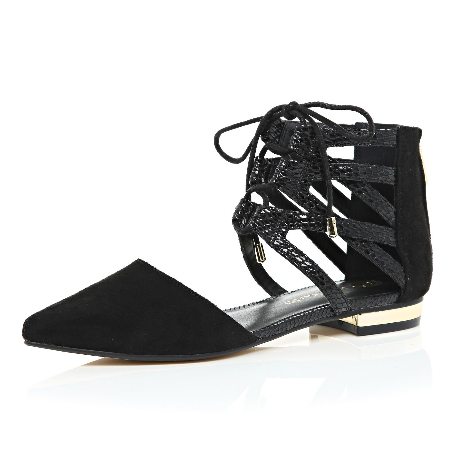 d4c42a780e River Island Black Ghillie Lace Up Ankle Flats in Black - Lyst