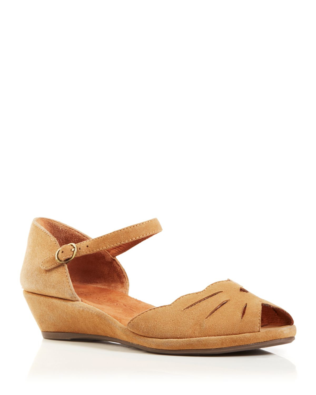 gentle souls wedge sandals lilymoon demi cutout in beige