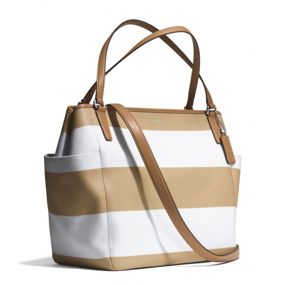 5724fd4de7ec coupon for coach baby bag tote in striped coated canvas tote b733e fb36d