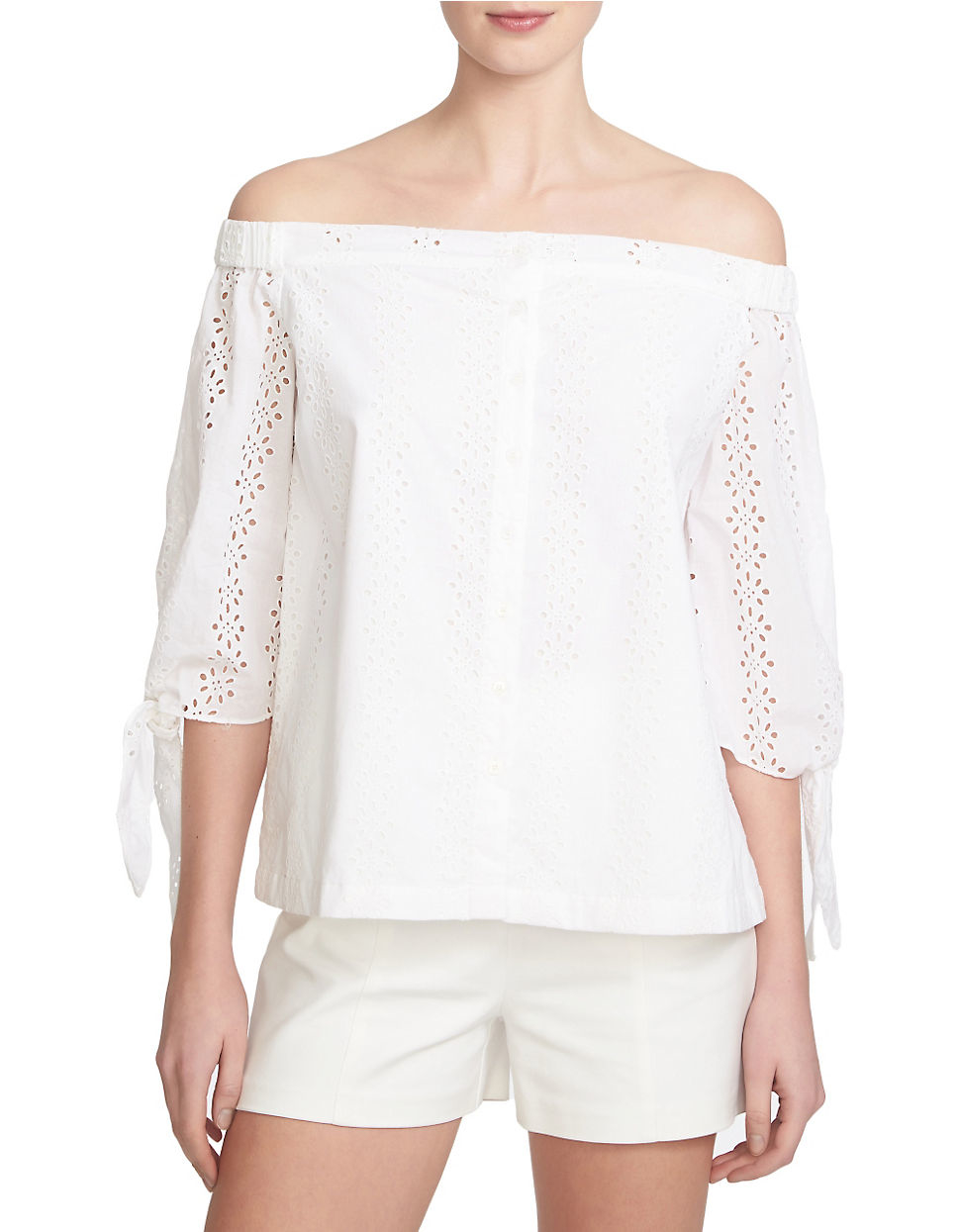 Lyst 1 State Off The Shoulder Eyelet Top In White