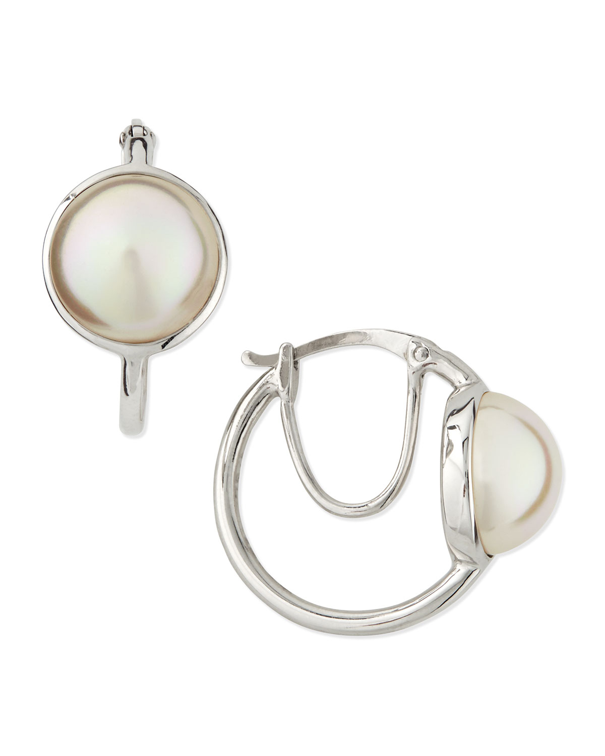 majorica pearly double layered hoop earrings in silver lyst. Black Bedroom Furniture Sets. Home Design Ideas