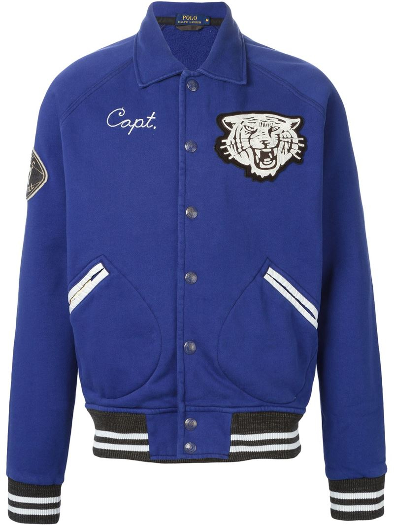 Lyst polo ralph lauren embroidered varsity jacket in