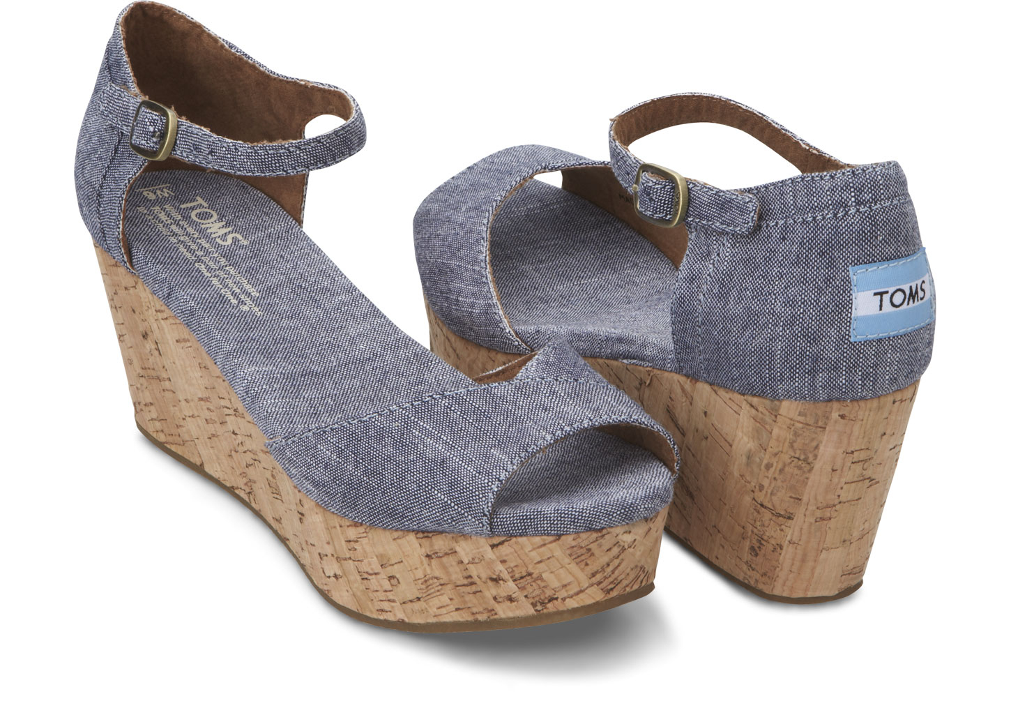 Toms Blue Chambray Women S Platform Wedges In Blue